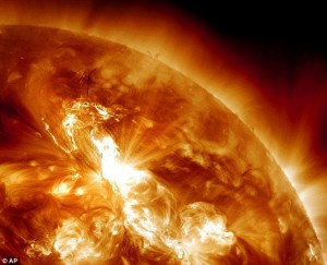 Solar eruption causes strongest radiation storm for SEVEN YEARS as particles hurtle out of sun towards Earth at 93,000,000 mph   Read more: http://www.dailymail.co.uk/sciencetech/article-2090784/Solar-flare-causes-strongest-radiation-storm-7-years-particles-hurtle-towards-Earth.