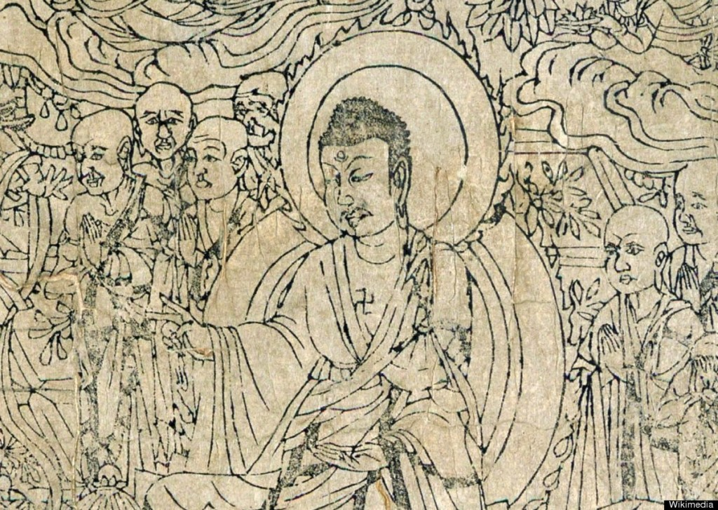 Detail of the Frontispiece, Diamond Sutra from Cave 17, Dunhuang, ink on paper