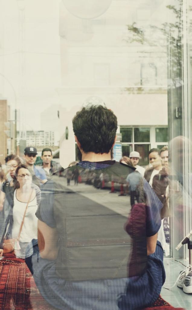 Man reflected in window-awaken