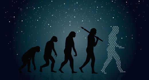man-evolution-into-modern-digital-world-awaken