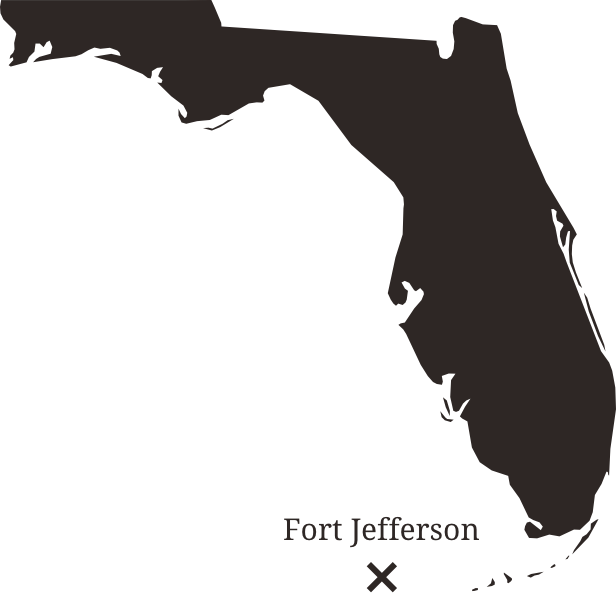 Map showing the location of Fort Jefferson