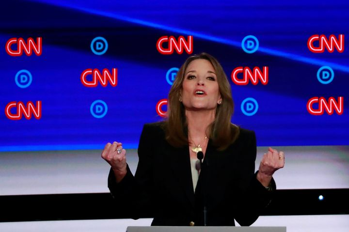 Author Marianne Williamson said she would wage war against the oil, gas and coal industries. But she's an even more cre