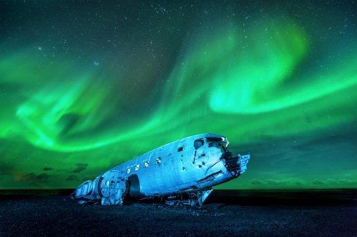 Plane crash and Northern Lights, Iceland