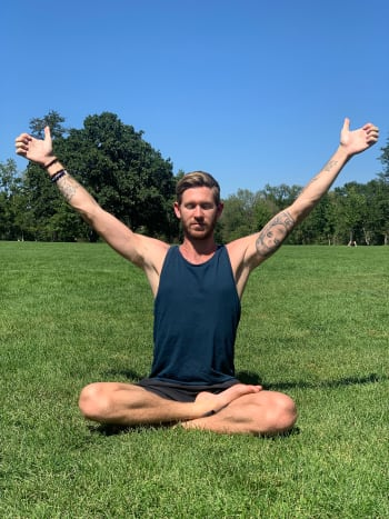 Sitting in easy pose, bring both arms up to a 60-degree angle. The thumbs point up towards the sky and the rest of the fingers curl in towards the pads of the hands. Now begin breath of fire, rapidly inhaling and exhaling with a pumping motion from the navel point. This exercise balances the hemispheres of the brain, strengthens the electromagnetic field, (aura) and opens the heart. Practice this for 90 seconds to three minutes.