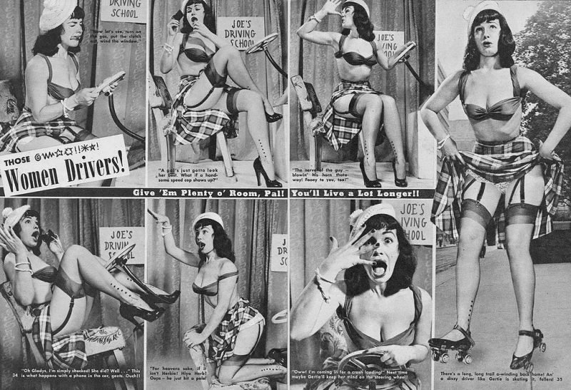A magazine feature from Beauty Parade from March 1952 stereotyping women drivers. It features Bettie Page as the model.