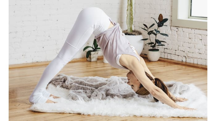 Raise your buttocks up into the air into Downward-Facing Dog Pose (called Triangle Pose in Kundalini Yoga). Stay here for 2 seconds, then return to Cobra Pose. Alternate between Cobra Pose and Triangle Pose at a speed of about 2 seconds per posture for 5 minutes.See also Diaphragmatic Breathing: The Best Way to Breathe to Advance Your Yoga Practice