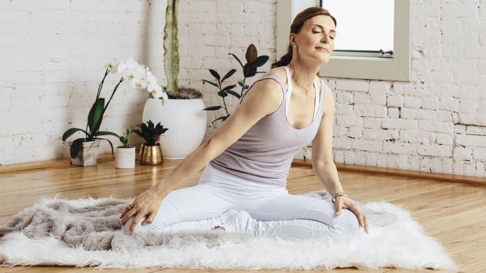 Sit in a crossed-legged position and breathe deeply to connect with the source of all life flowing through you. Place your palms on your knees, and from the base of your spine rotate your lower back in circles, keeping your shoulders relaxed. Inhale as your spine flexes forward and to one side; exhale as your spine extends back and to the other side. By doing this, you expand and compress the abdomen and rib cage. Continue in one direction for 26 or more circles, and then repeat on the other side. To finish, inhale with your spine centered, and hold your breath, elongating through your spine while expanding your belly. Exhale, and relax your entire body.See also Kundalini 101: What Is the Aquarian Age, Anyway?