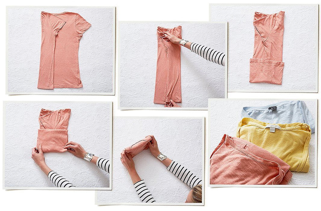 Here's the basic KonMari vertical fold, which can be applied to everything from T-shirts to stockings. First, make a long rectangle, and then fold from the bottom up into a little package.