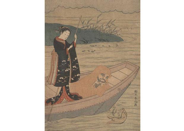 Daruma-in-Boat-with-Attendant-awaken
