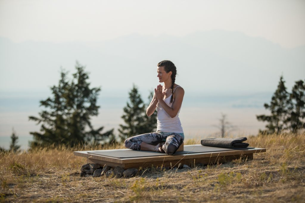 Good seated posture in easy cross legged pose.