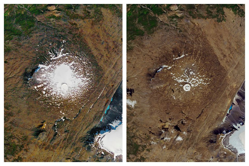 This combination of Sept. 14, 1986, left, and Aug. 1, 2019, photos provided by NASA shows the shrinking...