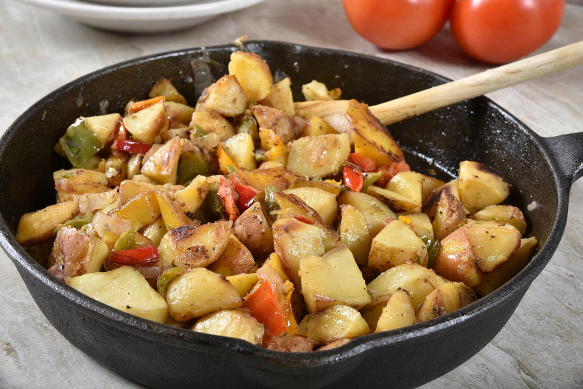 roasted potato wedges in bowl