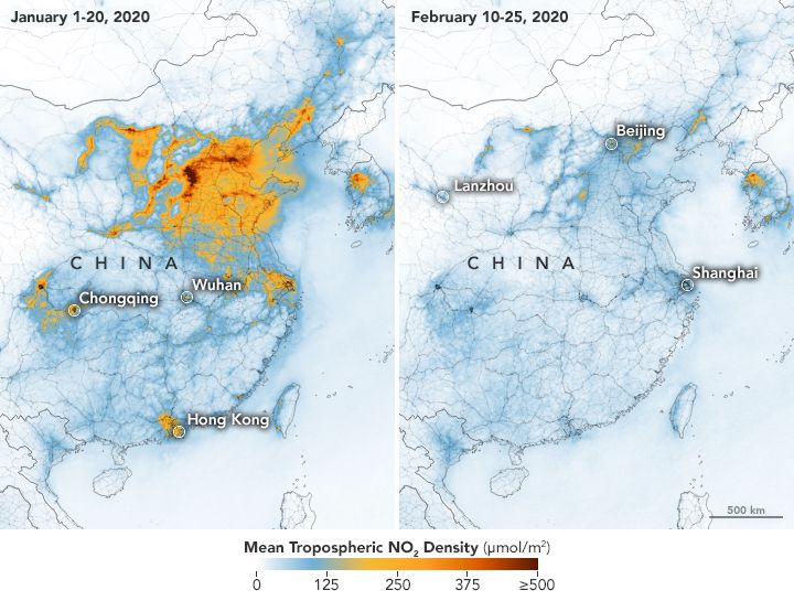 Levels of nitrogen dioxide, a trace gas associated with industry, before and after the coronavirus lockdown in China.